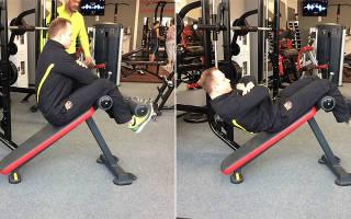 Скручивания на наклонной гимнастической скамье